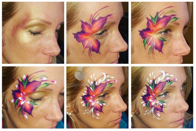 Narancs-lila virág arcfestés lépésről lépésre, Hegedűs Eszter