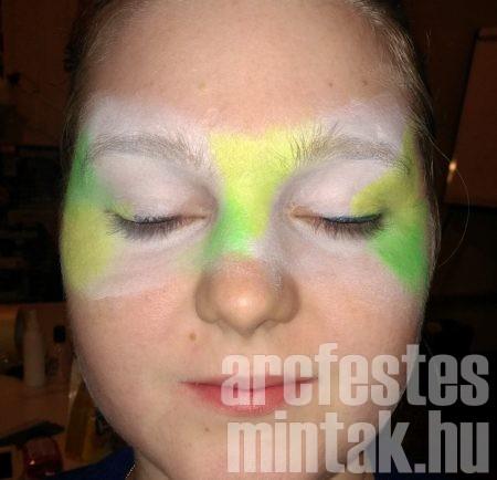 2. Vidd fel az UV sárga és zöld arcfestéket