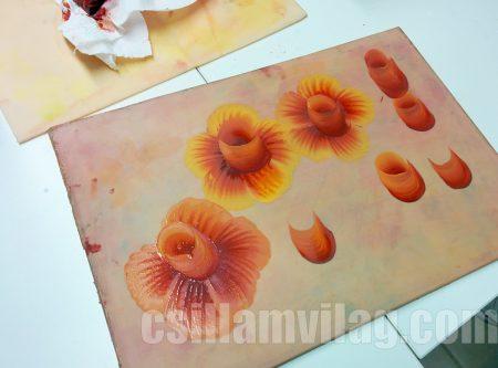 Egy mozdulat festés rózsa, gyakorlás gyakorlólapon - a workshopon
