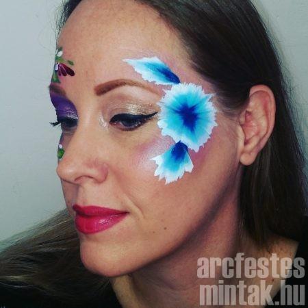 Búzavirágok csíkos arcfestékkel