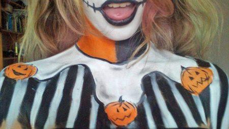 Halloween tök arcfestés