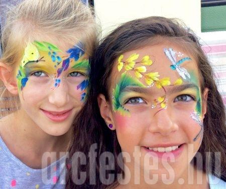Virág, lepke, szitakötő - Csíz arcfestés