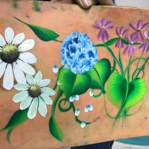 Egy mozdulat festés – virágok