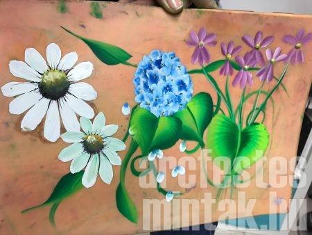 Egy mozdulat technikával virág festés