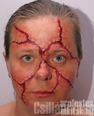 Varrott fej Halloween arcfestés, Erdeiné Erika