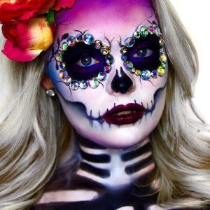 Cukorkoponya arcfestés és más csillogó Halloween arcfestés minta
