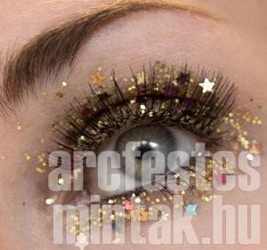 Smink Szilveszterre arany színű csillag-flitterrel és arany csillámporral