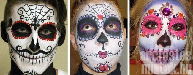 Különböző nehézségű arcfesés minták