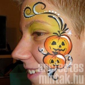 Halloween tök indás arcfestés