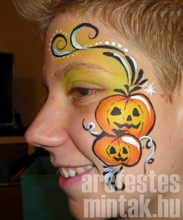 Halloween tök, indás arcfestés