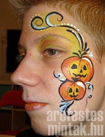 Halloween tök arcfestés minta csillámmal