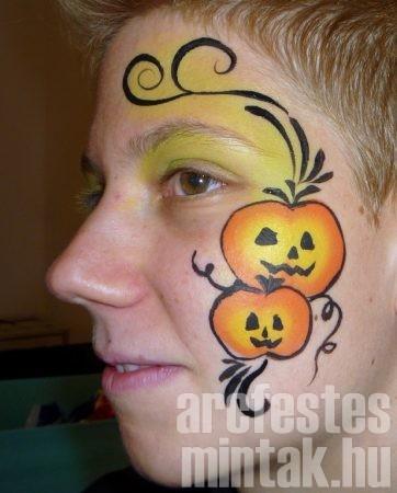 Halloween tök arcfestés minta