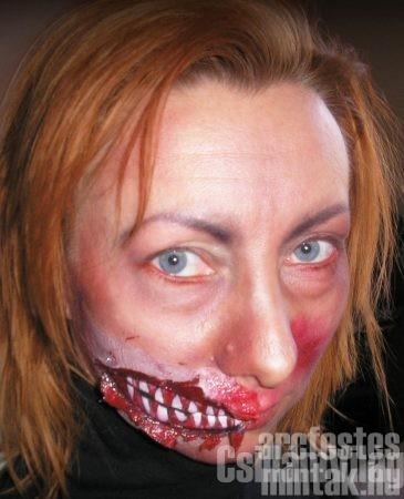 Zombi arcfestés ragasztott papírral, Hetési Mónika