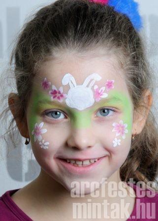 Húsvéti nyúl arcfestés kétszínű virágok