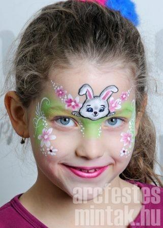 Nyuszi húsvéti arcfestés: pöttyök, cseppek, indák