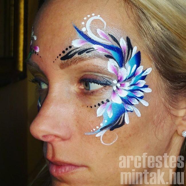 Kék-lila virág arcfestés 6.