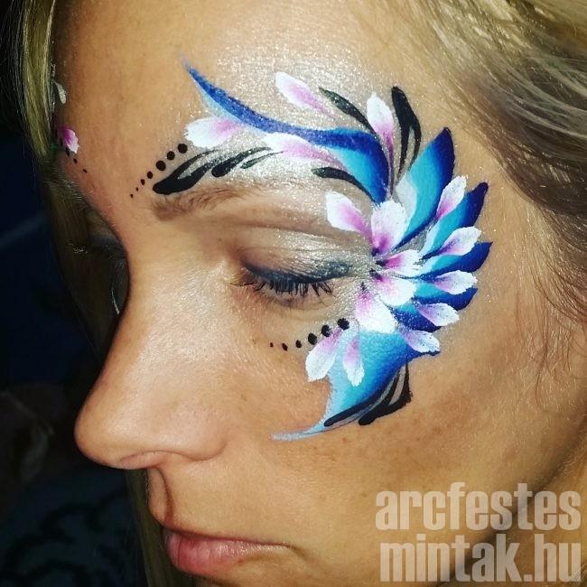 Kék-lila virág arcfestés 5.