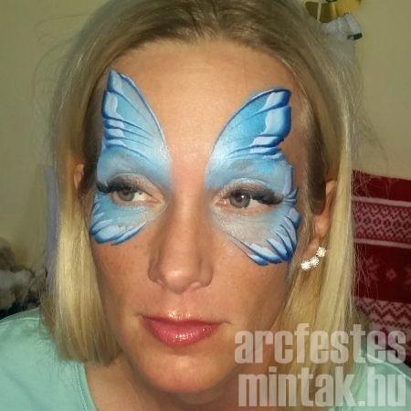 Kontúr kék csíkos festékke, lapos ecsettel