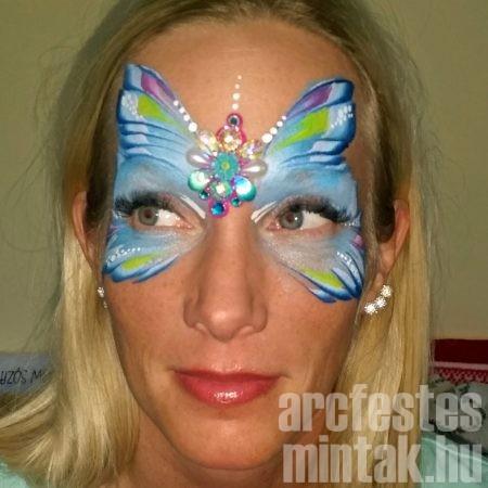 Kék pillangó arcfestés elölről