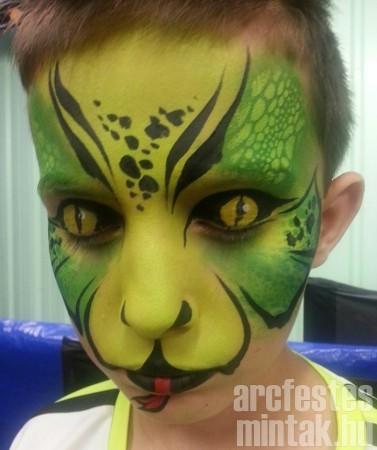 Zöld kígyó, Mehron Paradise arcfestékkel