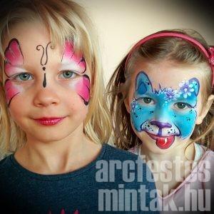 Lepke és kutya arcfestés