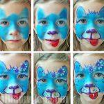 Kutya arcfestés virágokkal