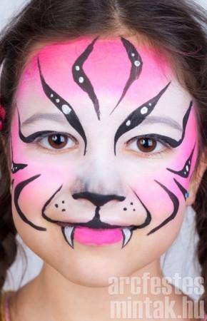 Tigris arcfestés lányoknak