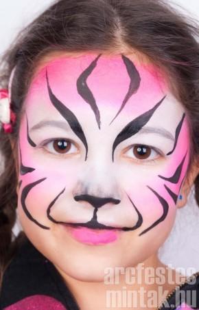 Lány tigris arcfestés 3