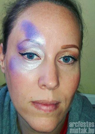 Lila pillangó arcfestés alapozás szivaccsal