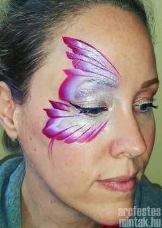 Lila pillangó arcfestés alsó szárny kontúr