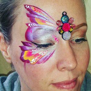 Lila pillangó arcfestés pöttyök, bling