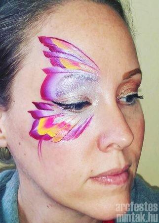 Lila pillangó arcfestés sárga belső ívek lapos ecsettel