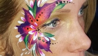 Narancs-lila virág arcfestés