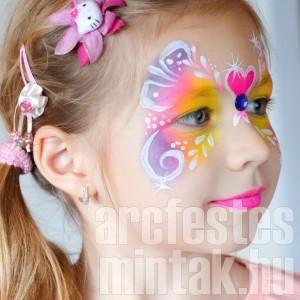 Neon-pillangó arcfestés kislányoknak