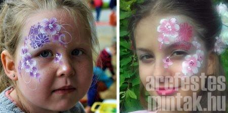 Richter Zsuzsa virágos arcfestései Superstar arcfestékkel
