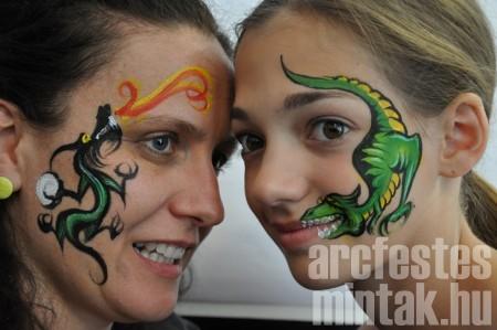Zöld sárkány és dino, Mehron Paradise arcfestékkel