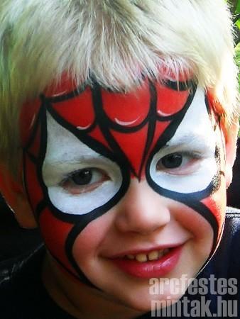 Pókember arcfestés. forrás: charmingfacesfacepainting.com