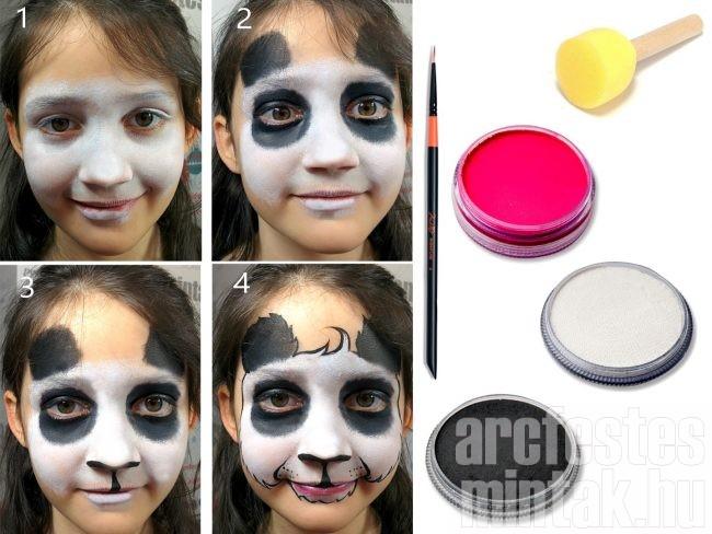 Panda arcfestés lépésről lépésre