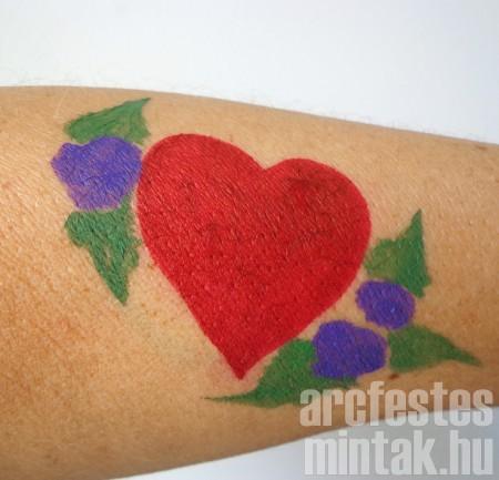 Szív virág arcfestékkel 2.