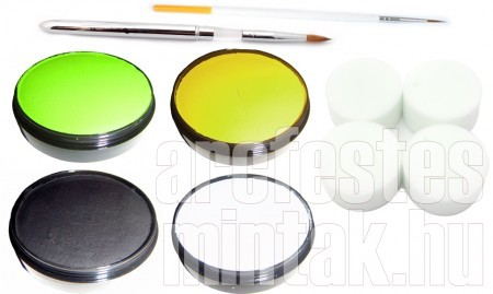 Tigris arcfestés eszközei: lime zöld, citromsárga, fekete, fehér arcfesték, hegyes ecsetek, szivacs