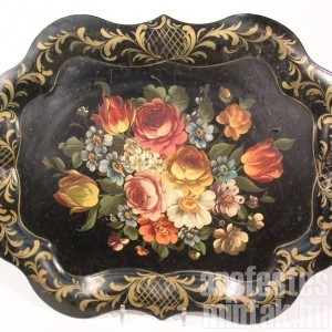 Viktoriánus korabeli kézzel festett tálca