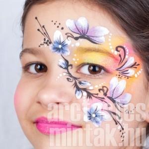 Virágos pillangós arcfestés