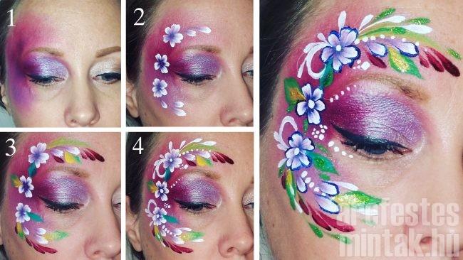 Virágos tavaszi arcfestés lépésről lépésre, arcfestő: Hegedűs Eszter