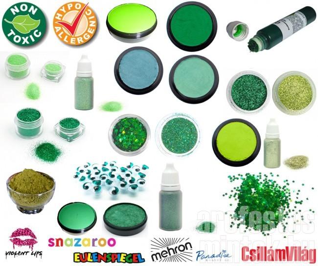 Zöld arcfestékek, csillámok stb...